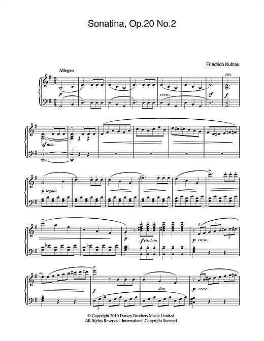 Download Friedrich Kuhlau 'Sonatina, Op.20, No.2' Digital Sheet Music Notes & Chords and start playing in minutes