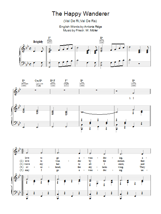 Friedrich W. Moller The Happy Wanderer (Val-De-Ri, Val-De-Ra) sheet music preview music notes and score for Piano, Vocal & Guitar (Right-Hand Melody) including 4 page(s)
