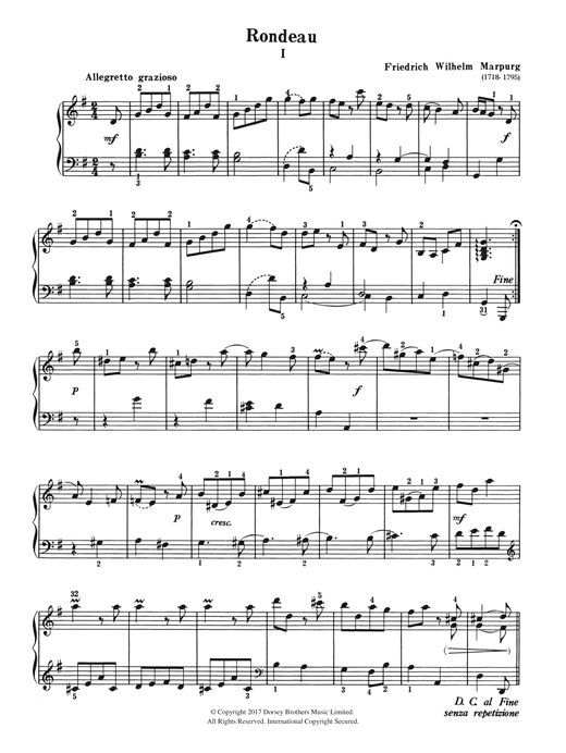 Download Friedrich Wilhelm Marpurg 'Rondeau' Digital Sheet Music Notes & Chords and start playing in minutes