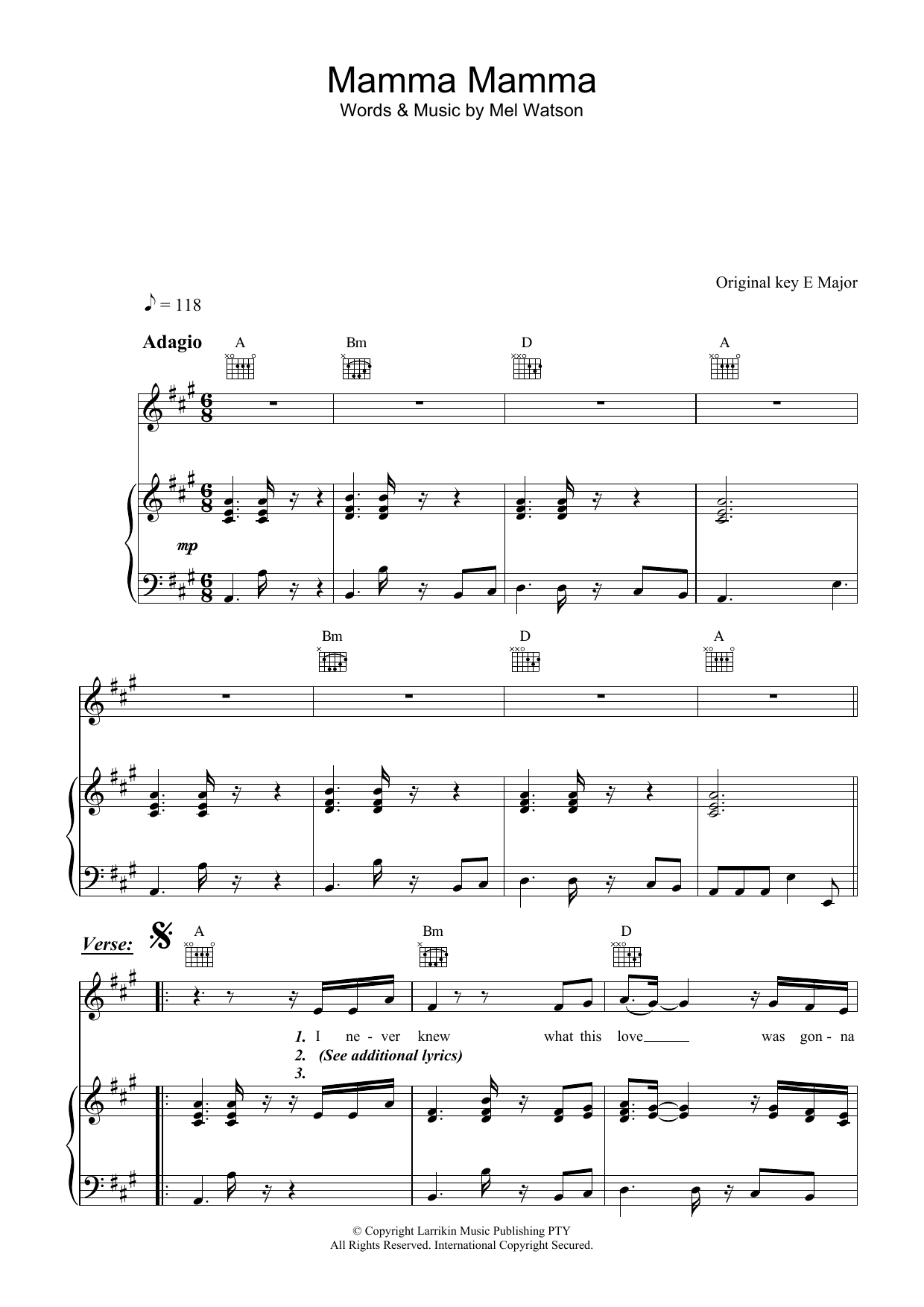 Fruit Mamma Mamma sheet music preview music notes and score for Piano, Vocal & Guitar (Right-Hand Melody) including 6 page(s)