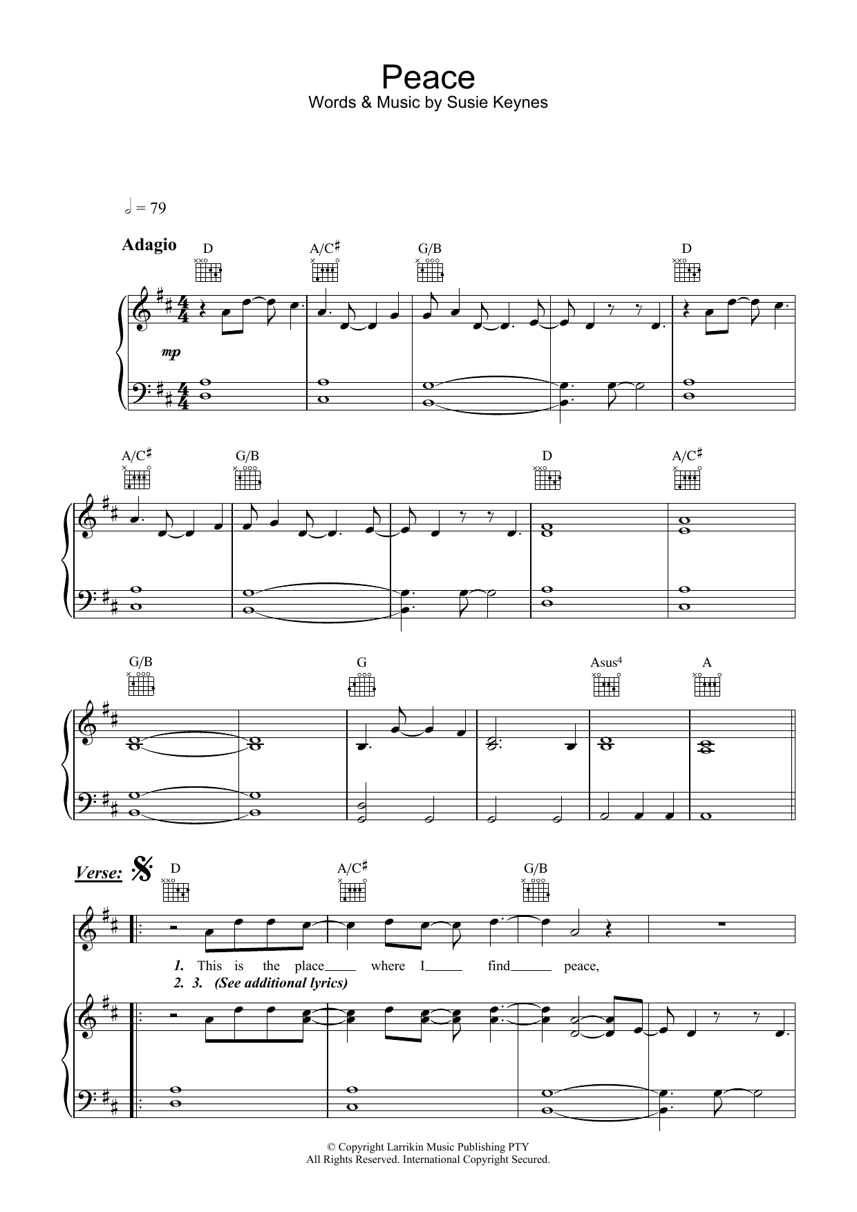 Fruit Peace sheet music preview music notes and score for Piano, Vocal & Guitar (Right-Hand Melody) including 8 page(s)