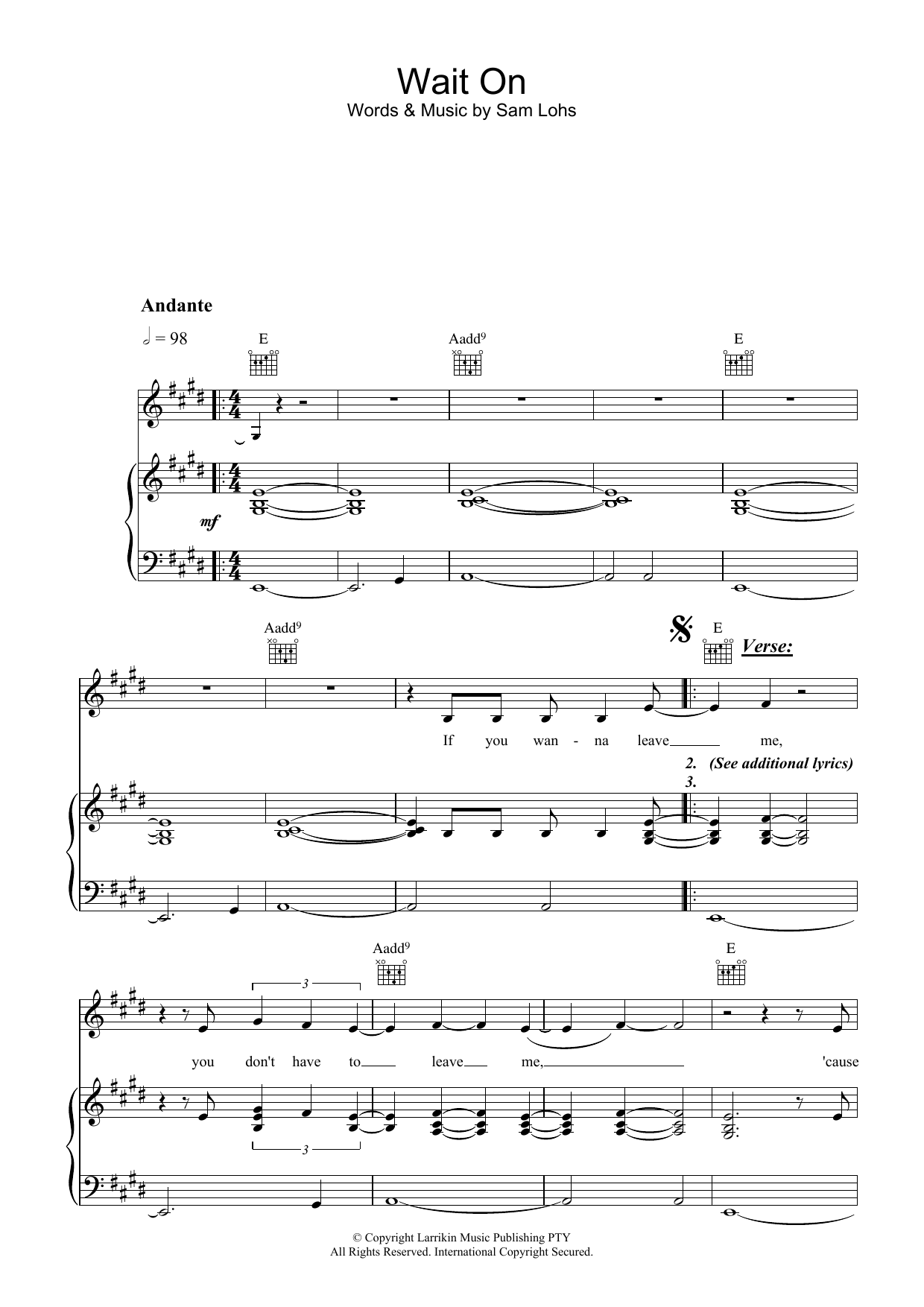 Fruit Wait On sheet music preview music notes and score for Piano, Vocal & Guitar (Right-Hand Melody) including 7 page(s)