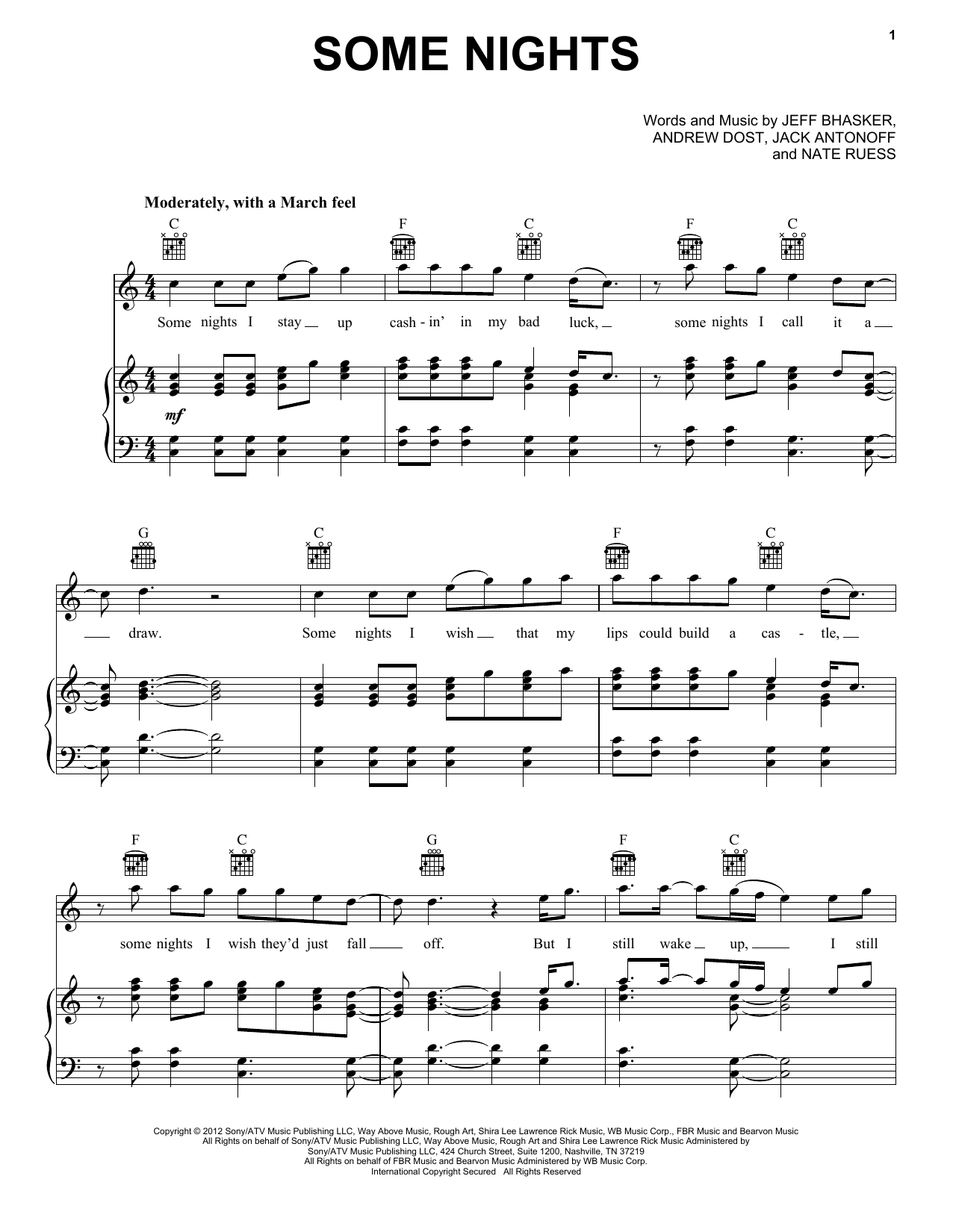 fun. Some Nights sheet music preview music notes and score for Piano, Vocal & Guitar (Right-Hand Melody) including 10 page(s)
