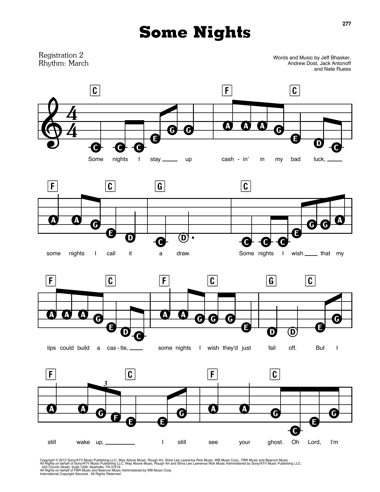 fun. Some Nights (feat. Janelle Monae) sheet music preview music notes and score for E-Z Play Today including 7 page(s)