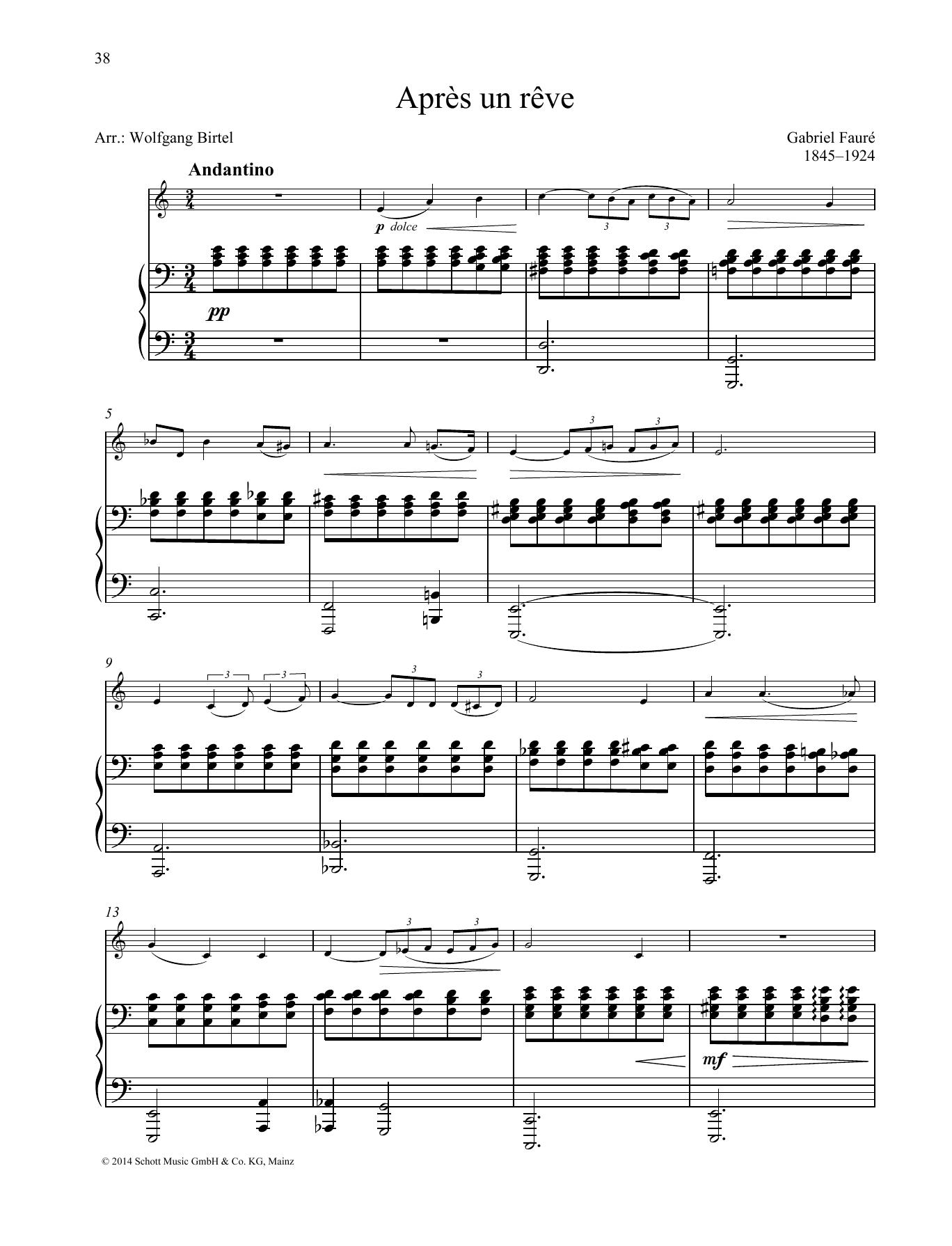 Gabriel Fauré Après un rêve sheet music preview music notes and score for Brass Solo including 4 page(s)