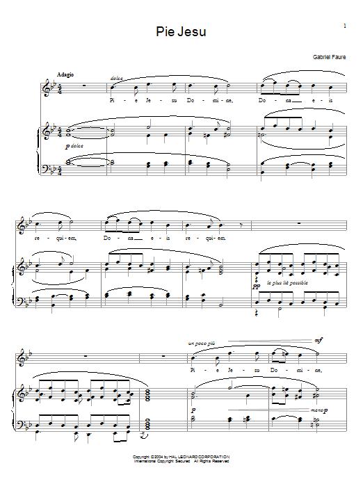Gabriel Fauré Pie Jesu sheet music notes and chords