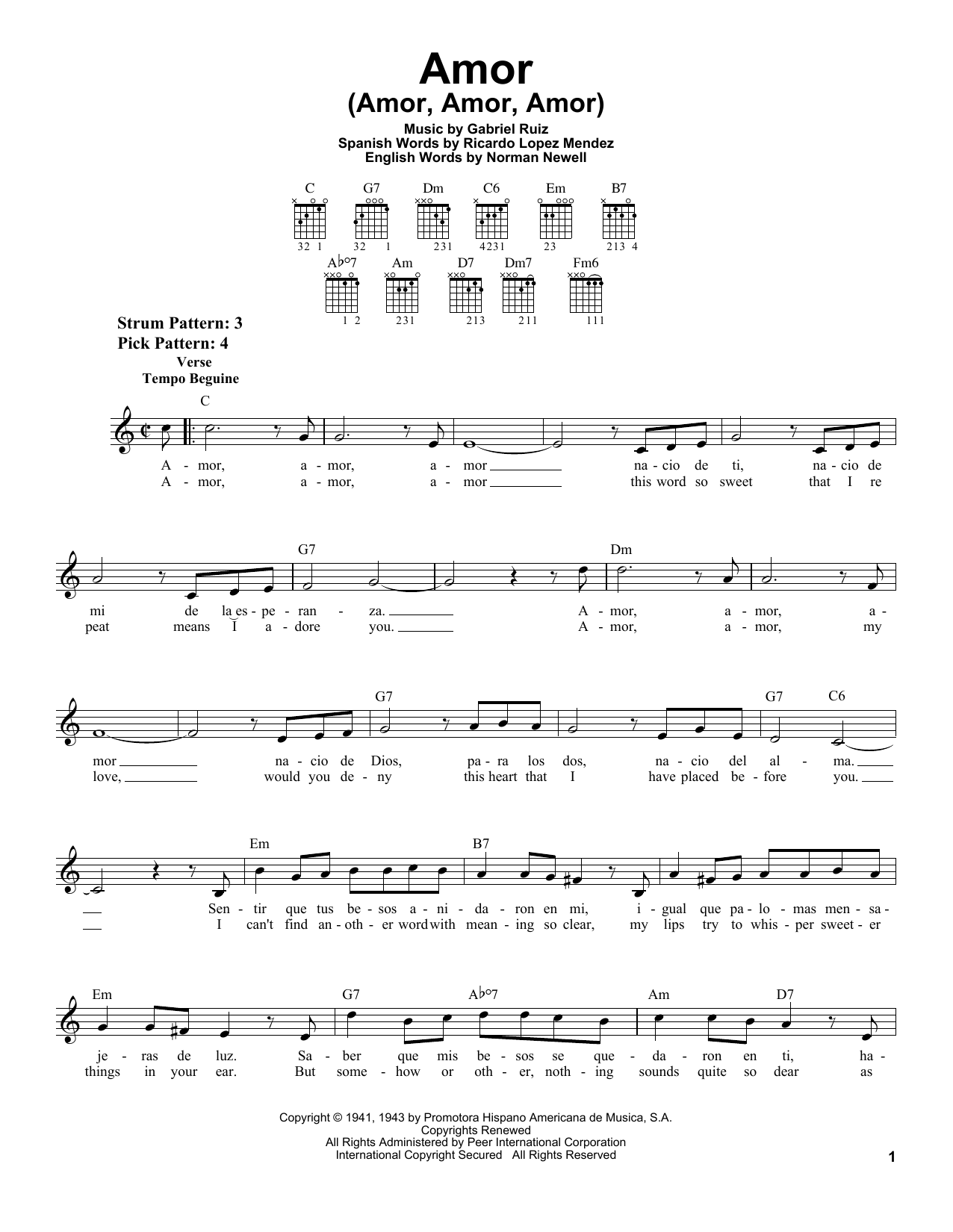 Gabriel Ruiz Amor (Amor, Amor, Amor) sheet music preview music notes and score for Easy Guitar including 2 page(s)