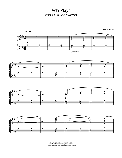 Download Gabriel Yared 'Ada Plays (from Cold Mountain)' Digital Sheet Music Notes & Chords and start playing in minutes