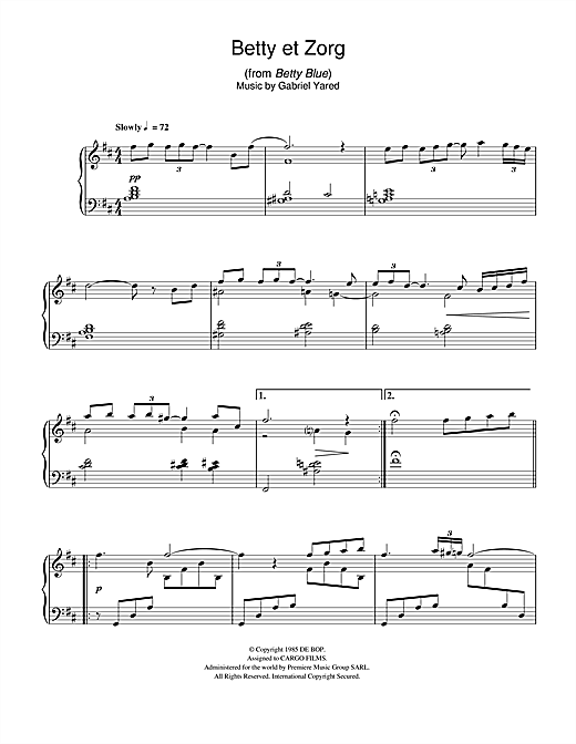 Download Gabriel Yared 'Betty et Zorg (from Betty Blue)' Digital Sheet Music Notes & Chords and start playing in minutes