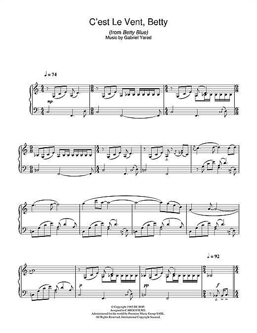 Download Gabriel Yared 'C'est Le Vent Betty (from Betty Blue)' Digital Sheet Music Notes & Chords and start playing in minutes