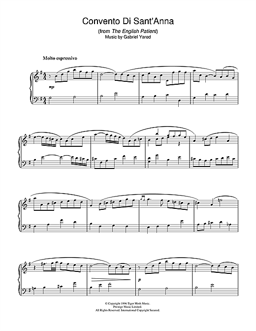 Download Gabriel Yared 'Convento Di Sant'anna (from The English Patient)' Digital Sheet Music Notes & Chords and start playing in minutes
