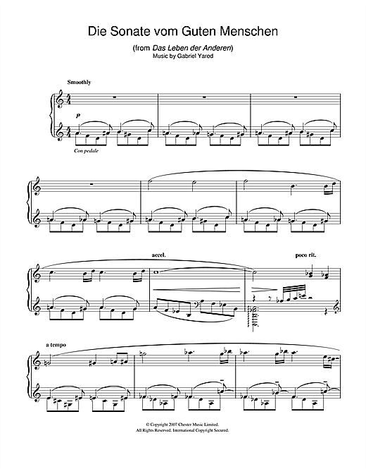 Download Gabriel Yared 'Die Andere Sonate (from Das Leben der Anderen)' Digital Sheet Music Notes & Chords and start playing in minutes