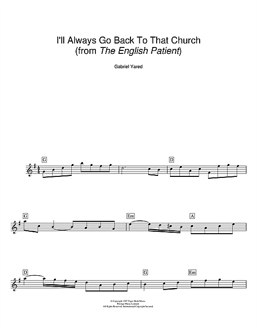 Download Gabriel Yared 'I'll Always Go Back To That Church (from The English Patient)' Digital Sheet Music Notes & Chords and start playing in minutes