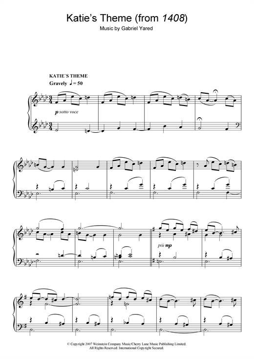 Download Gabriel Yared 'Katie's Theme (from 1408)' Digital Sheet Music Notes & Chords and start playing in minutes