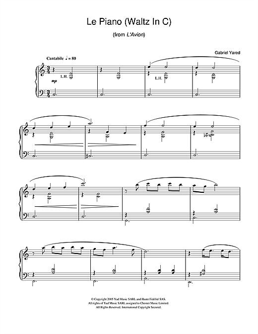 Gabriel Yared Le Piano (Waltz in C) (from L'Avion) sheet music notes and chords