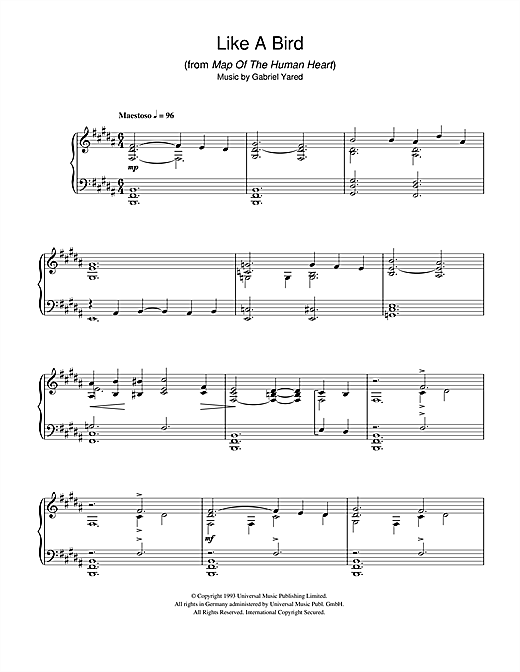 Download Gabriel Yared 'Like A Bird (from Map Of The Human Heart)' Digital Sheet Music Notes & Chords and start playing in minutes