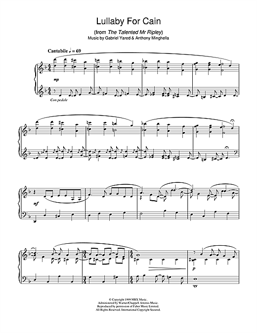 Download Gabriel Yared 'Lullaby For Cain (from The Talented Mr Ripley)' Digital Sheet Music Notes & Chords and start playing in minutes