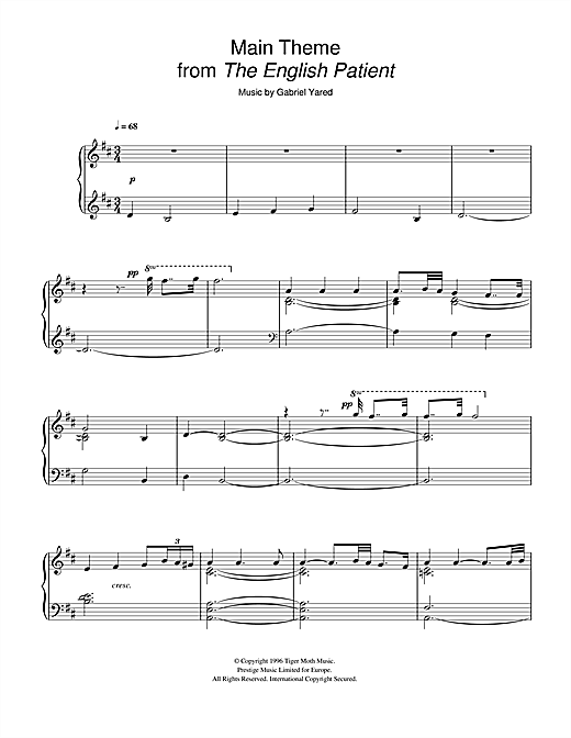 Download Gabriel Yared 'Main Theme (from The English Patient)' Digital Sheet Music Notes & Chords and start playing in minutes