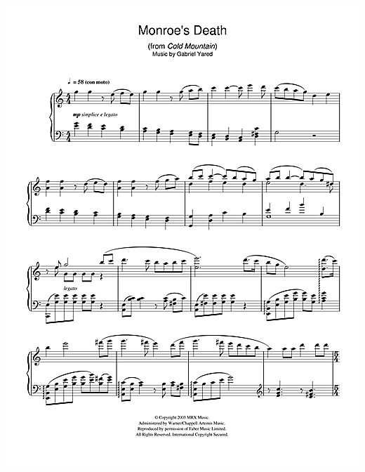 Download Gabriel Yared 'Monroe's Death (from Cold Mountain)' Digital Sheet Music Notes & Chords and start playing in minutes