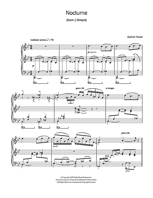 Download Gabriel Yared 'Nocturne (from L'Amant)' Digital Sheet Music Notes & Chords and start playing in minutes