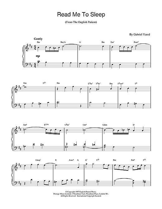 Download Gabriel Yared 'Read Me to Sleep (from The English Patient)' Digital Sheet Music Notes & Chords and start playing in minutes