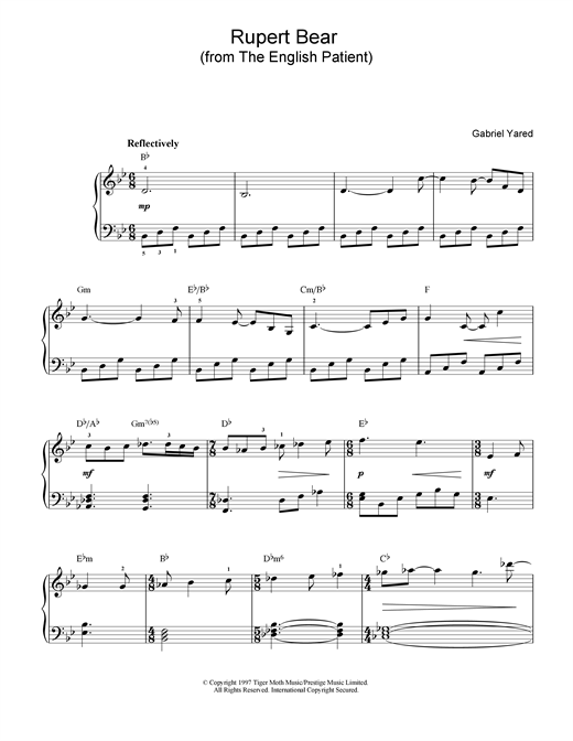Download Gabriel Yared 'Rupert Bear (from The English Patient)' Digital Sheet Music Notes & Chords and start playing in minutes