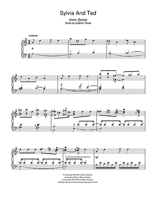 Download Gabriel Yared 'Sylvia and Ted (from Sylvia)' Digital Sheet Music Notes & Chords and start playing in minutes