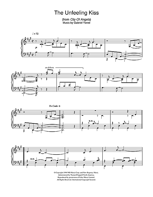 Download Gabriel Yared 'The Unfeeling Kiss (from City of Angels)' Digital Sheet Music Notes & Chords and start playing in minutes