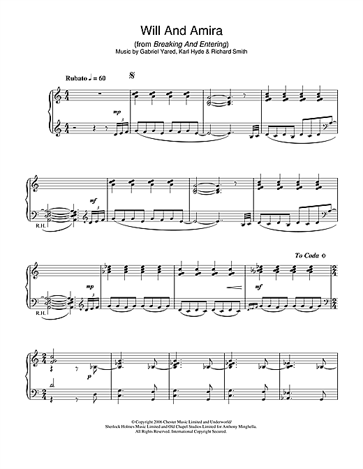 Download Gabriel Yared 'Will And Amira (from Breaking And Entering)' Digital Sheet Music Notes & Chords and start playing in minutes