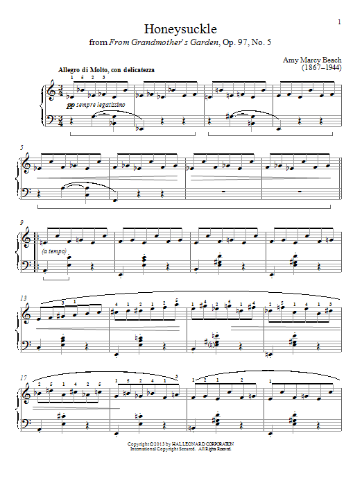 Download Gail Smith 'Honeysuckle' Digital Sheet Music Notes & Chords and start playing in minutes