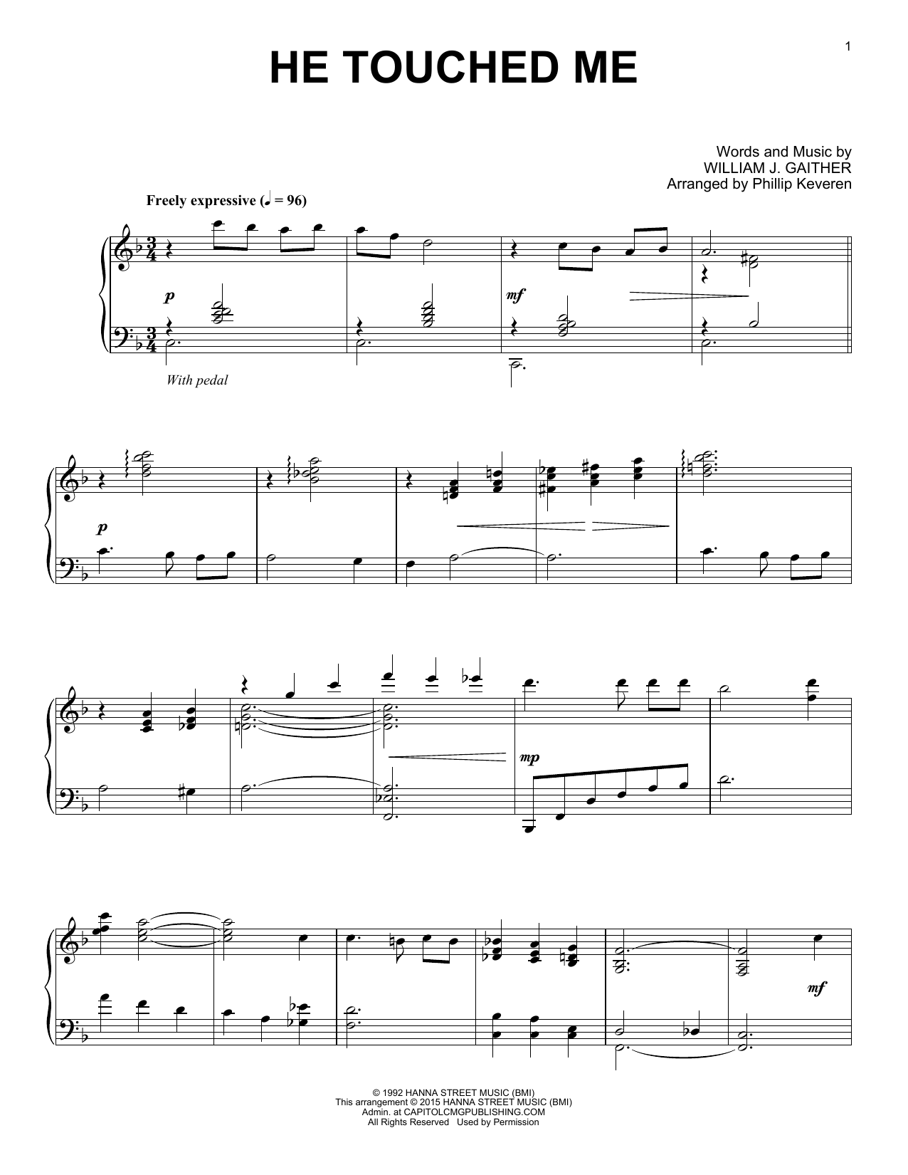 Download Gaither Vocal Band 'He Touched Me' Digital Sheet Music Notes & Chords and start playing in minutes