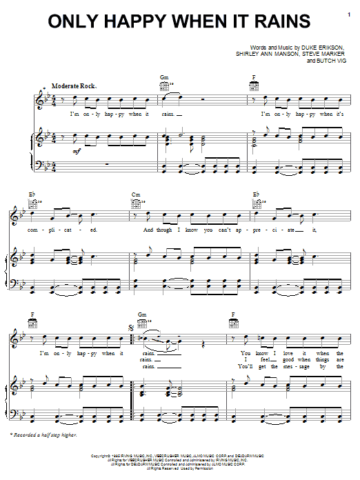 Garbage Only Happy When It Rains sheet music notes and chords
