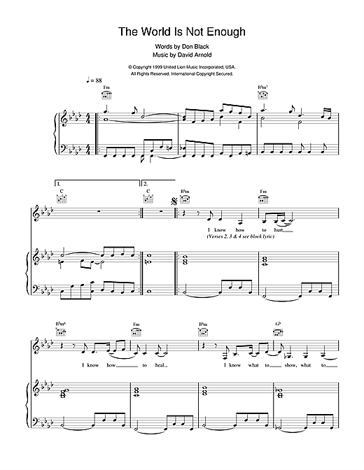 Garbage The World Is Not Enough (theme from the James Bond film) sheet music notes and chords