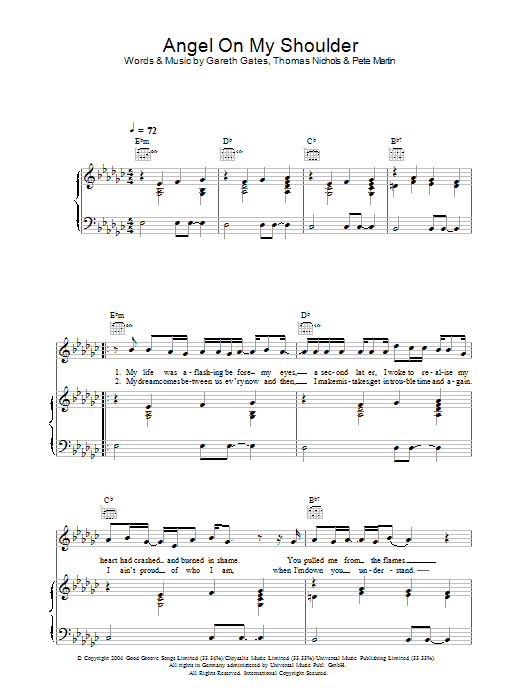 Gareth Gates Angel On My Shoulder sheet music preview music notes and score for Piano, Vocal & Guitar including 5 page(s)