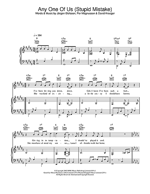 Gareth Gates Any One Of Us (Stupid Mistake) sheet music notes and chords