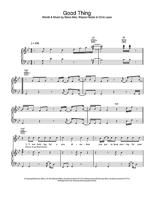 Gareth Gates Good Thing sheet music notes and chords