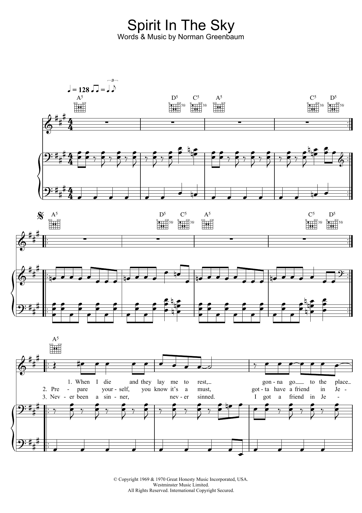 Gareth Gates Spirit In The Sky sheet music preview music notes and score for Piano, Vocal & Guitar including 4 page(s)