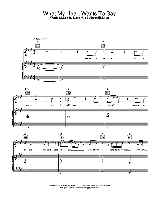 Gareth Gates What My Heart Wants To Say sheet music notes and chords