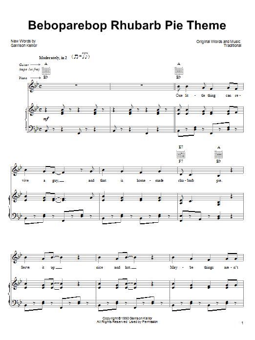 Garrison Keillor Beboparebop Rhubarb Pie Theme sheet music notes and chords