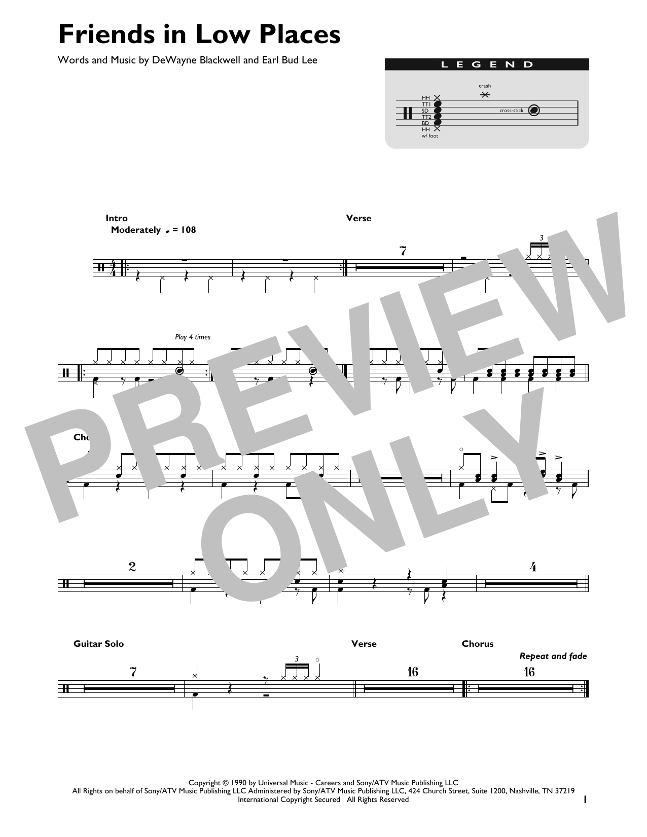 Garth Brooks Friends In Low Places sheet music preview music notes and score for Guitar Tab including 7 page(s)