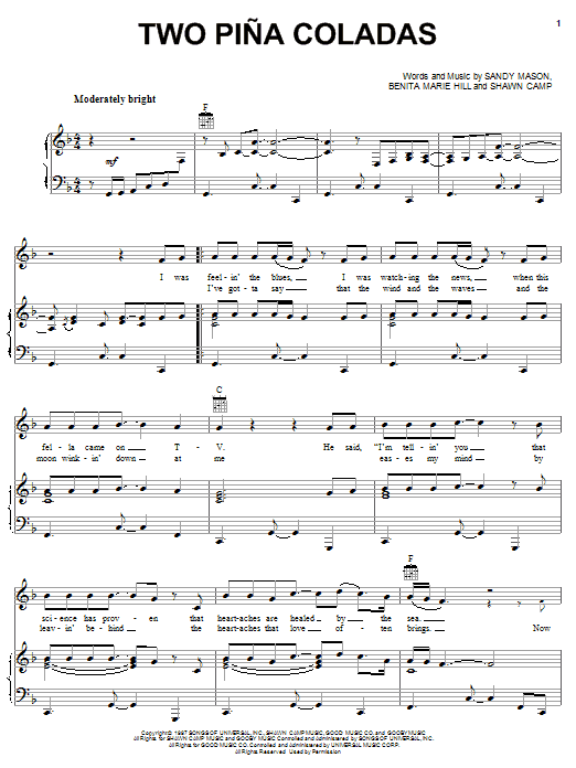 Garth Brooks Two Pina Coladas sheet music preview music notes and score for Piano, Vocal & Guitar (Right-Hand Melody) including 4 page(s)