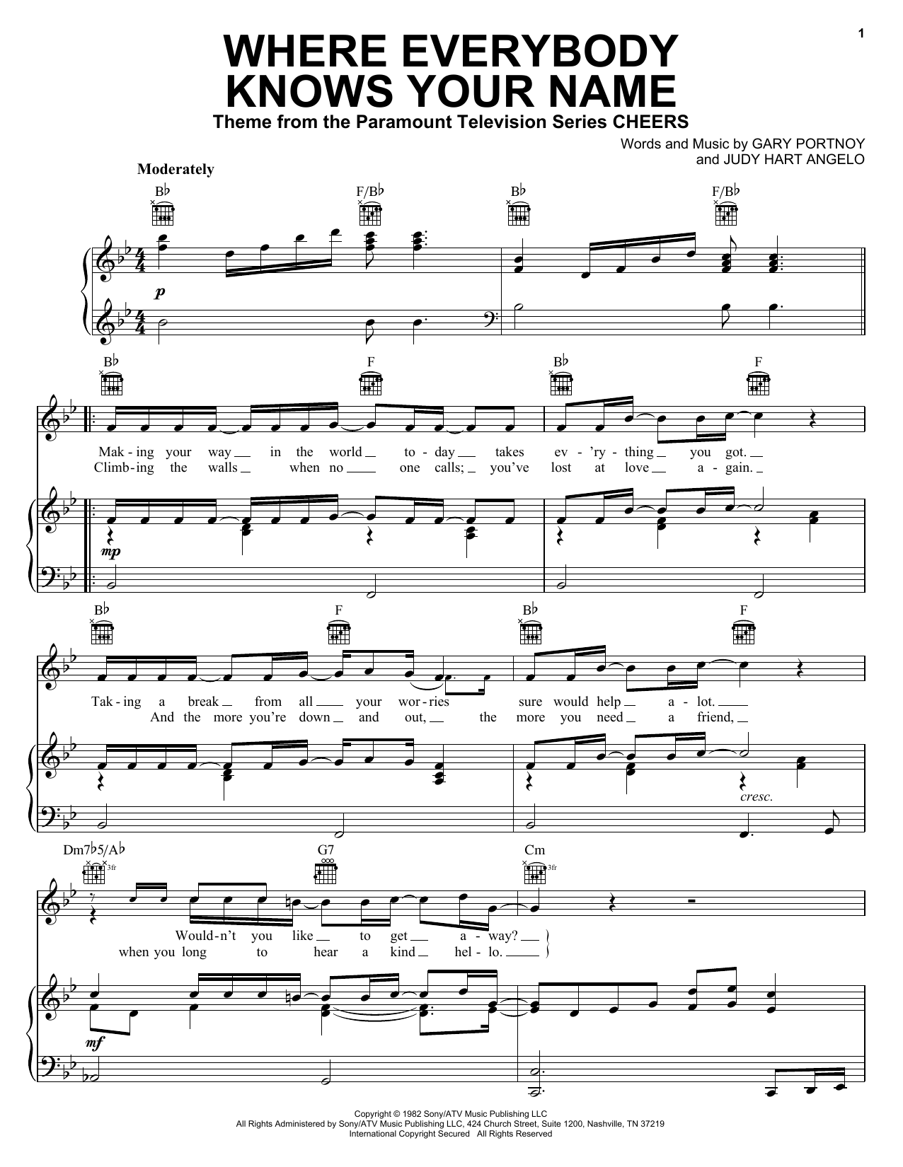 Gary Portnoy Where Everybody Knows Your Name sheet music preview music notes and score for Piano including 2 page(s)