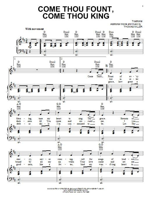 Download Gateway Worship 'Come Thou Fount, Come Thou King' Digital Sheet Music Notes & Chords and start playing in minutes