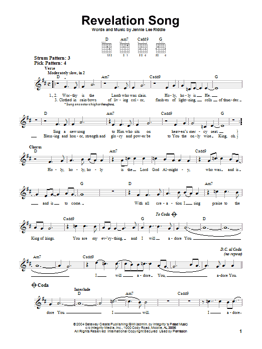 Gateway Worship Revelation Song sheet music notes and chords