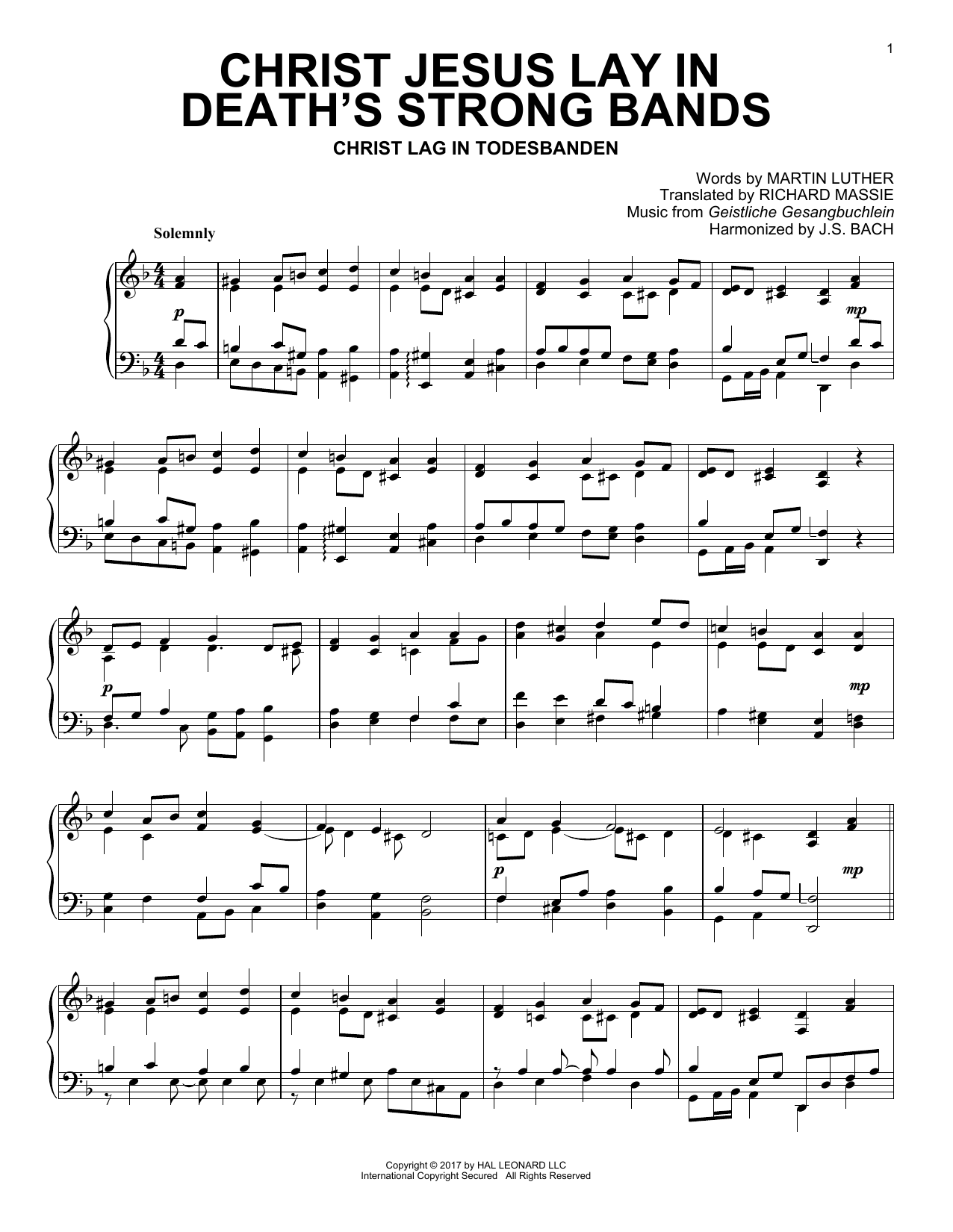 Download Geistliche Gesangbuchlein 'Christ Jesus Lay In Death's Strong Bands' Digital Sheet Music Notes & Chords and start playing in minutes