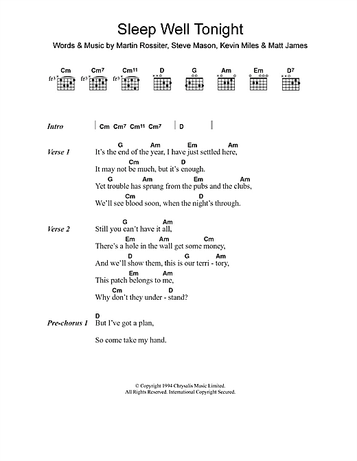 Gene Sleep Well Tonight sheet music notes and chords