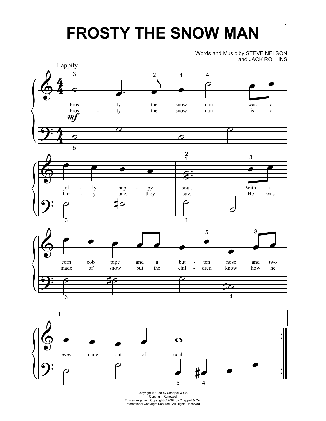 Download Gene Autry 'Frosty The Snow Man' Digital Sheet Music Notes & Chords and start playing in minutes