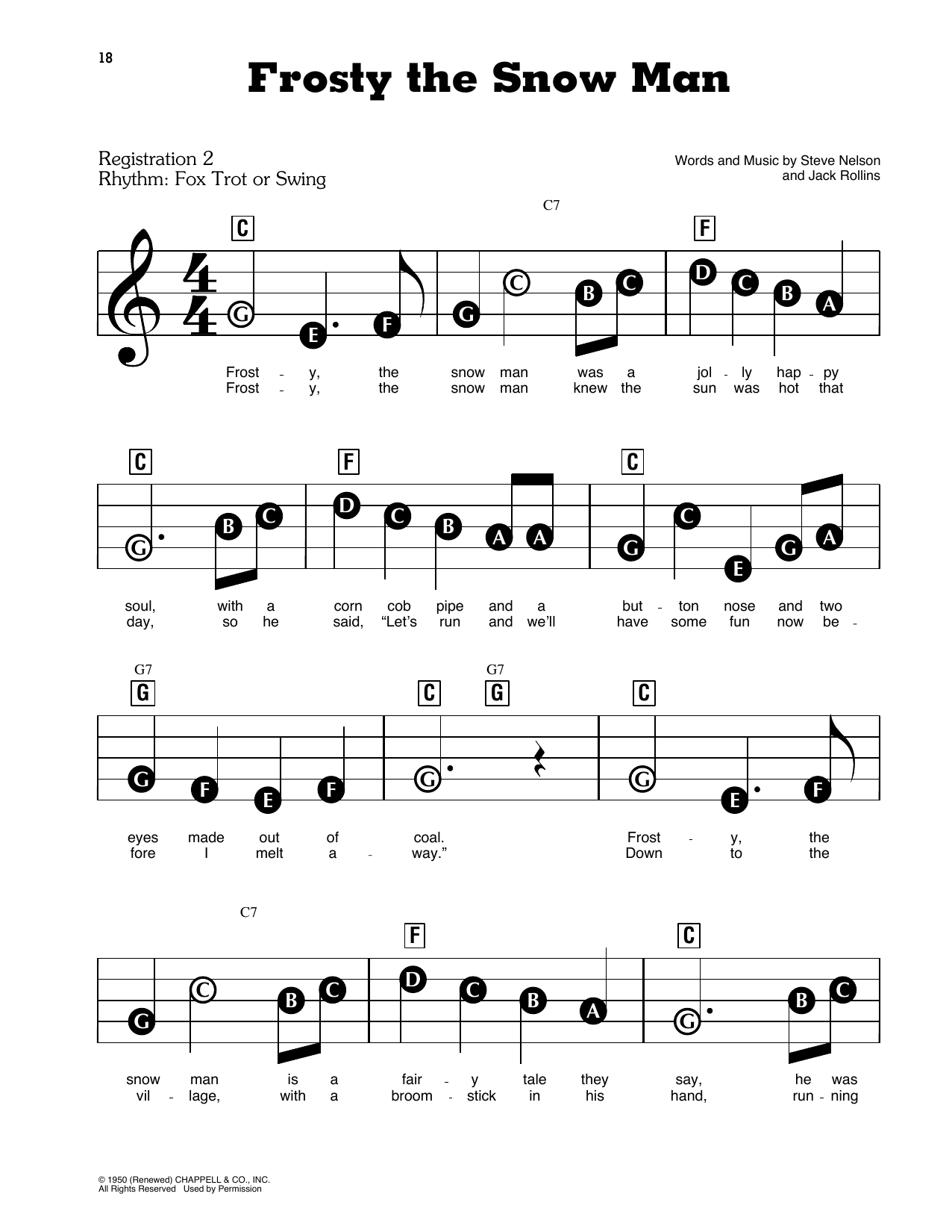 Gene Autry Frosty The Snow Man sheet music preview music notes and score for E-Z Play Today including 3 page(s)