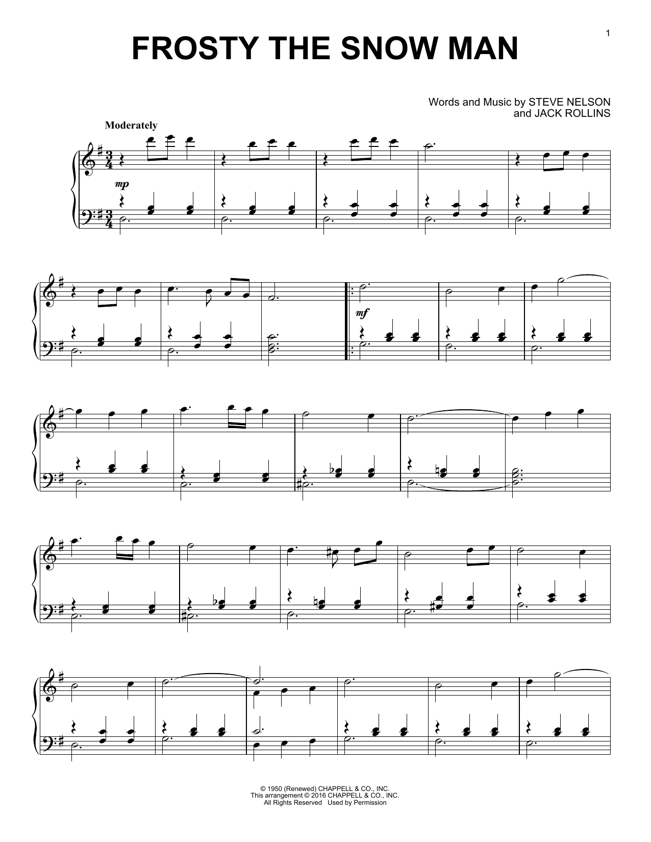 Gene Autry Frosty The Snowman sheet music preview music notes and score for Guitar Tab including 3 page(s)
