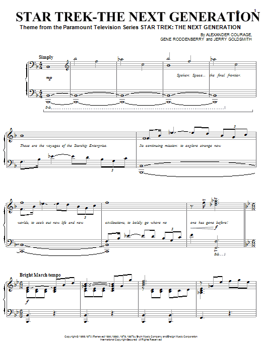 Gene Roddenberry Star Trek - The Next Generation(R) sheet music preview music notes and score for Piano (Big Notes) including 4 page(s)